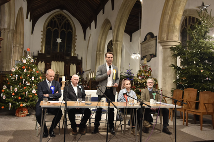 Ben speaking at Aylsham Hustings