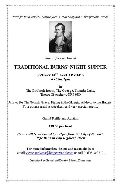 Burns night supper details