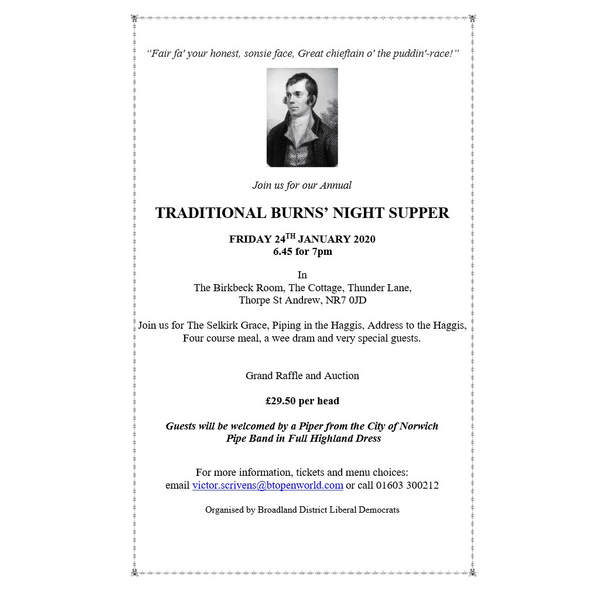 Burns night supper details